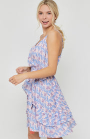 PRINTED TIE WAIST STRAPPY DRESS
