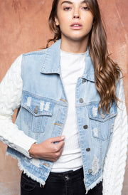LEAN ON ME DENIM + KNIT SLEEVE JACKET