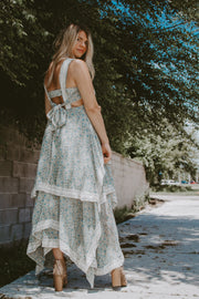 LACE TRIM FLORAL BOHO DRESS
