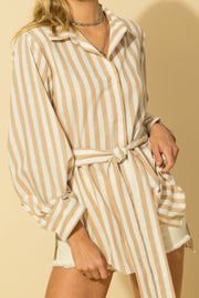 BOARDWALK TIE WAIST STRIPED SHIRT