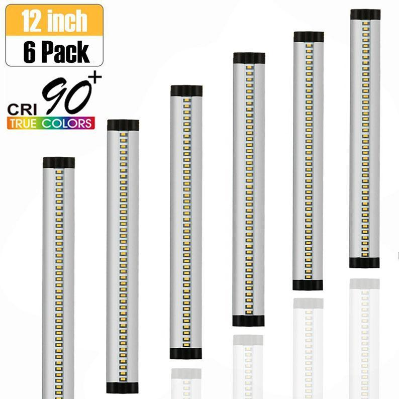 6 Pack 7mm Thick Silver Dimmable  Finish LED Under Cabinet Lighting Kit