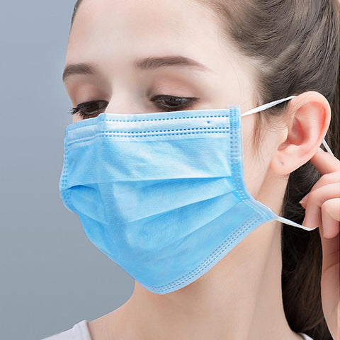 50Pack of BFE95% Face Masks, 3-Ply Cotton Filter Medical Sanitary for Dust, Germ Protection