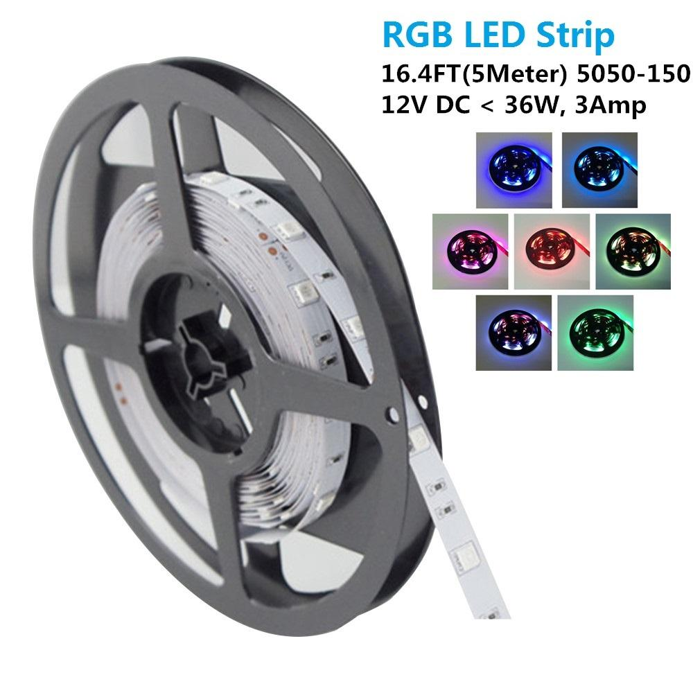SMD5050-150 RGB Color Change Tri-Chip Flexible LED Strips 30 LEDs Per Meter 10mm Width
