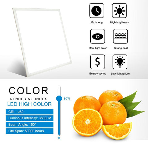 Image of 40W Square LED Panel Light White Trim Flat Sheet LED Panel Lighting
