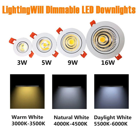 16W COB Dimmable CRI80 Directional Recessed Ceiling Lights