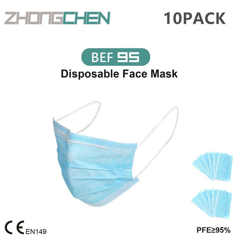 10Pack of BFE95% Face Masks, 3-Ply Cotton Filter Medical Sanitary for Dust, Germ Protection