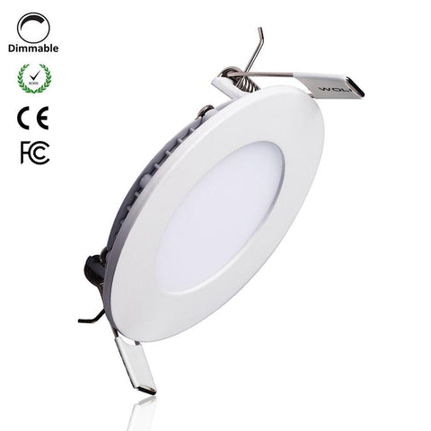 Image of White Trim LED Panel Light 10mm Thick Round Shape Low Profile Recessed Ceiling Panel Lamp 100-240 V AC