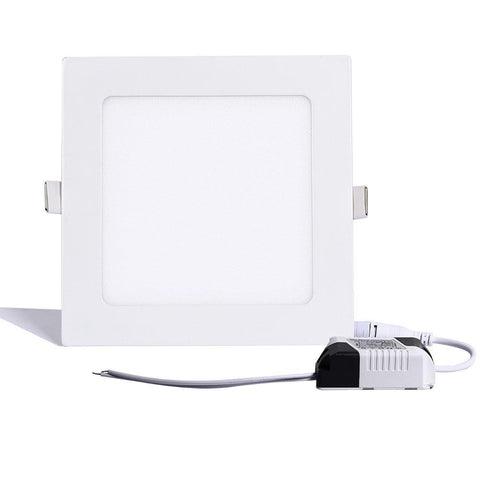 Image of White Trim LED Panel Light 10mm Thick Square Shape Low Profile Recessed Ceiling Panel Lamp 100-240V AC