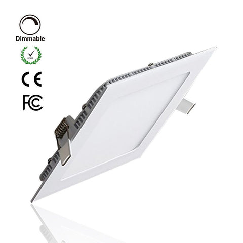 White Trim LED Panel Light 10mm Thick Square Shape Low Profile Recessed Ceiling Panel Lamp 100-240V AC