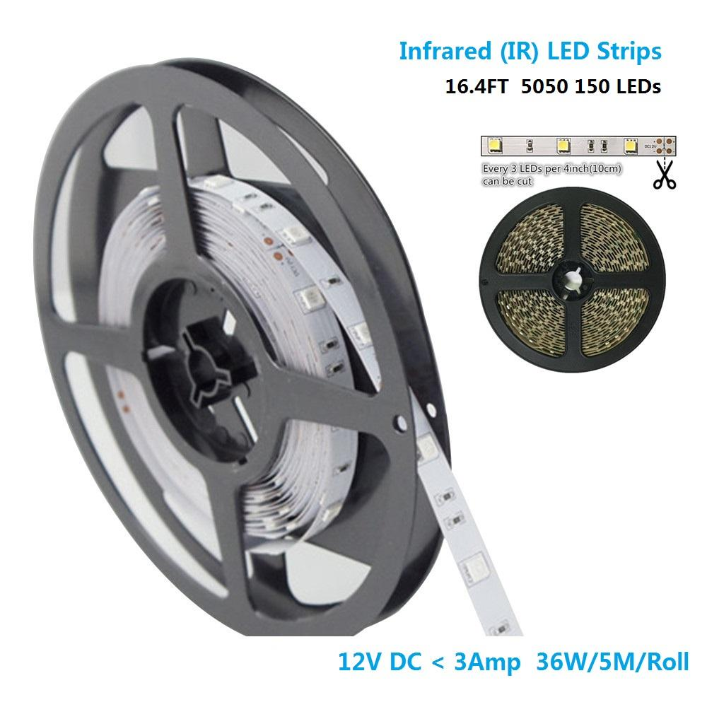850nm/940nm SMD5050 30LEDs 7.2W Per Meter IR InfraRed Tri-Chip Flexible LED Strip