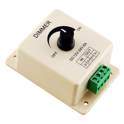 Image of Manual Rotation LED Dimmer 12V-24V DC Switch Wall Mounting