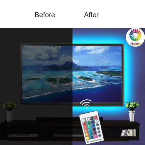 5V 3M USB Powered LED TV Backlights Light Kit with Remote Controller