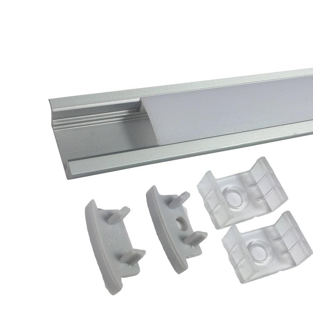 Silver U01 9x23mm U-Shape LED Aluminum Channel System for LED Strip Light Installations