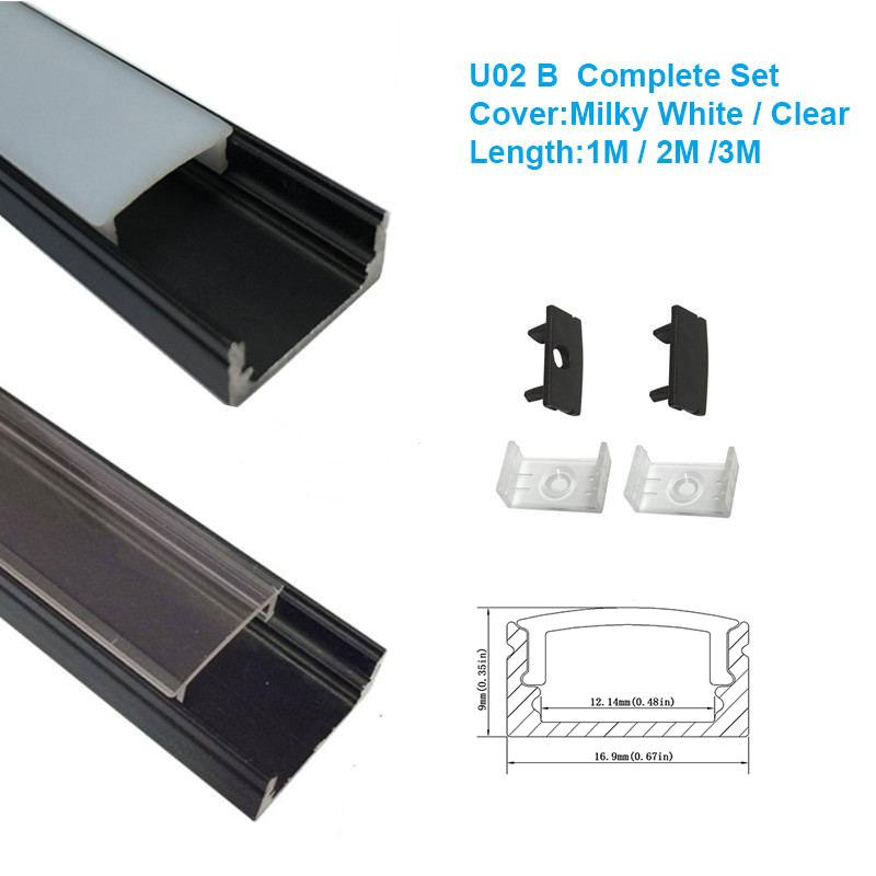 black aluminum led channel U02 aluminum channel for led lights