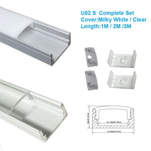 Silver U02 9x17mm U-Shape aluminum channel holder for led strip light bar