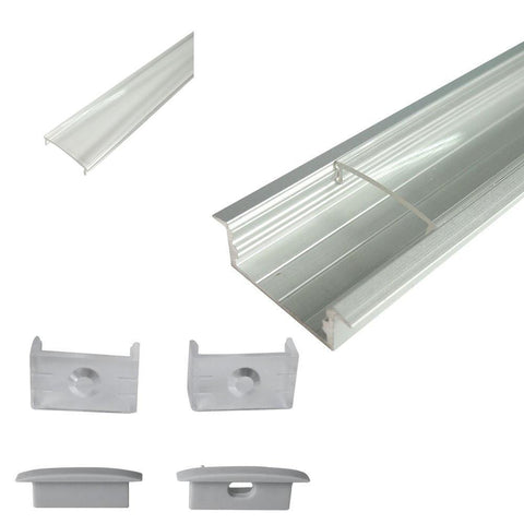 Image of Silver U03 10x30mm U-Shape aluminum channel for led tape light with Cover