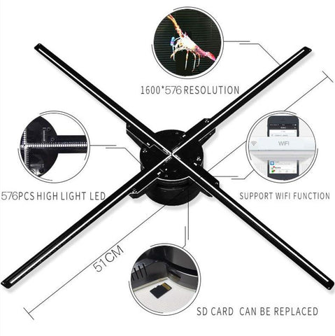 Image of 50cm 3D 4 blade hologram fan With wifi and SD Card