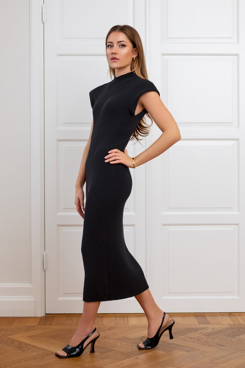 Ribbed Mid Dress - Black
