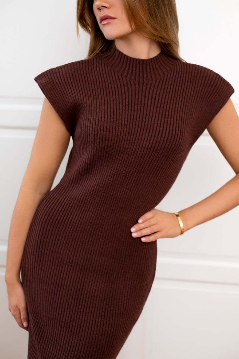 Ribbed Mid Dress - Chocolate