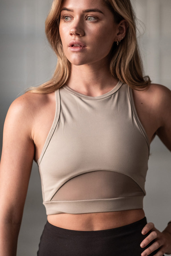 High Neck Sports Bra - Taupe