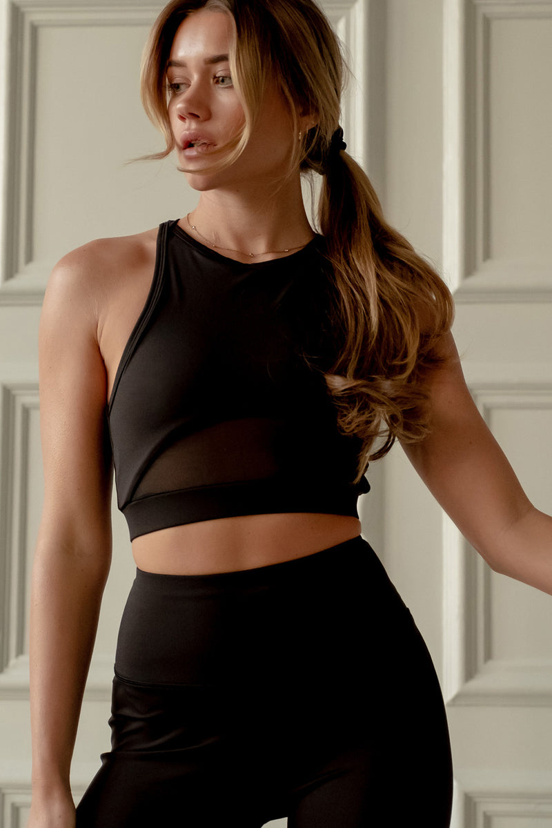 High Neck Sports Bra - Black