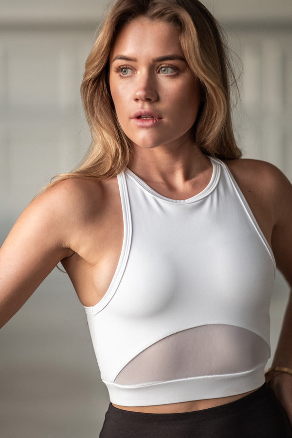 High Neck Sports Bra - White