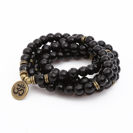Bracelet Mala «Protection» en pierre d'Obsidienne
