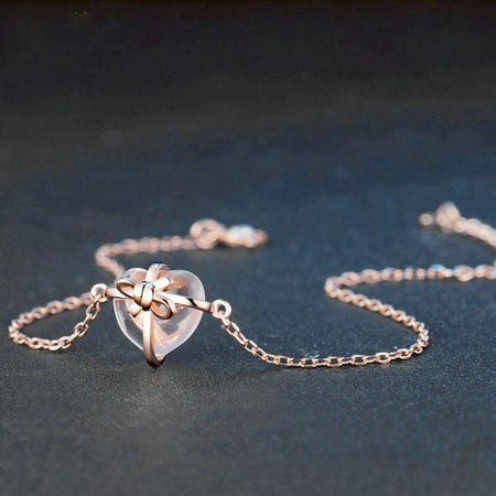 Bracelet en pierre de quartz rose
