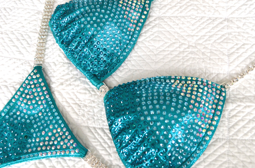 Electric Teal Fitness Competition Bikini