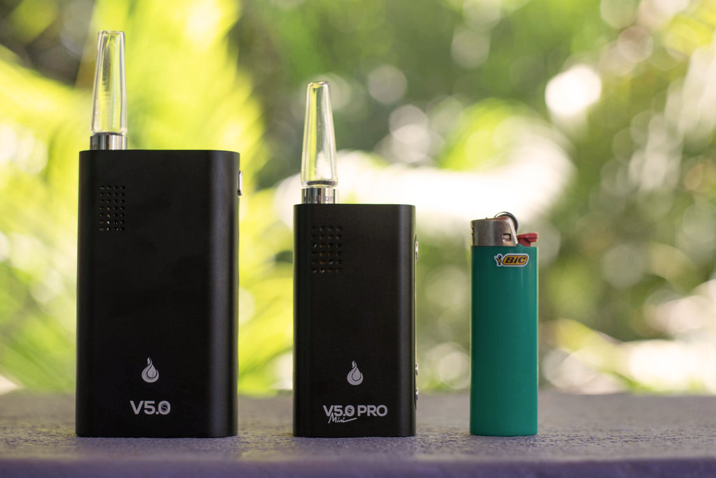 Flowermate Mini Pro Vaporizer Front View With Mouth Piece Compared To Flowermate V5.0S Vaporizer - Planet of the Vapes