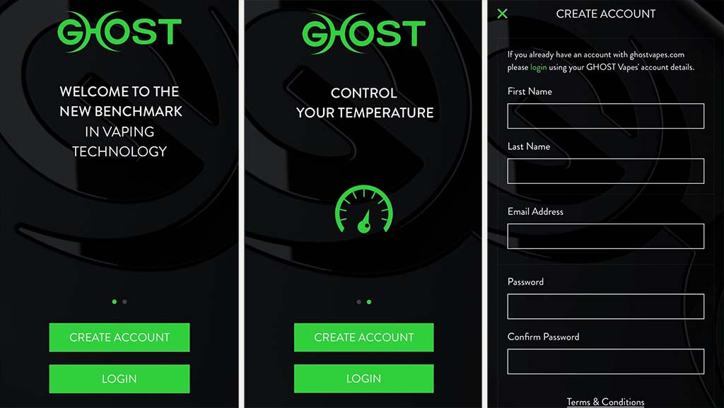 Ghost Vapes App Creating an account