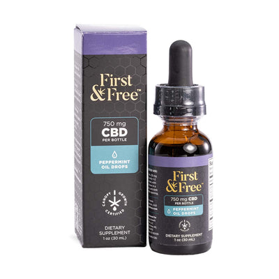 First & Free CBD Oil Drops Peppermint Flavor 750mg