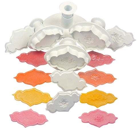 Creative PLAQUE ROSE ROSE SPRAY & PLAIN SET of 4