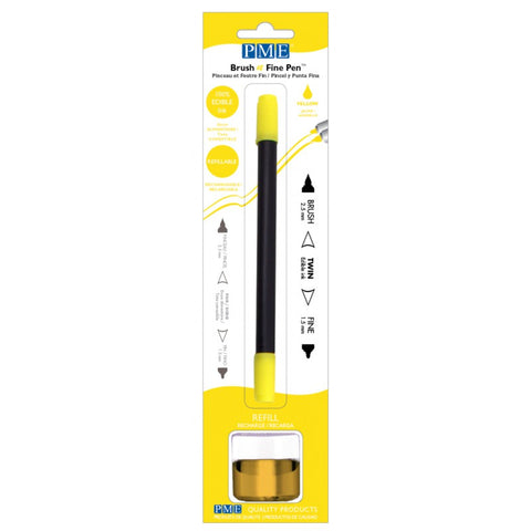 Brush N Fine Refillable Pen - Yellow