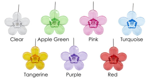 Clear Diamante Flower Gem Pins