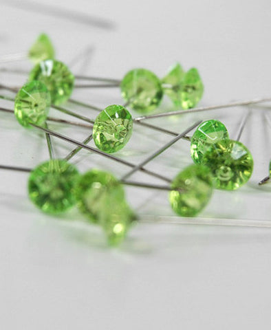 Green Diamante Gem Pins