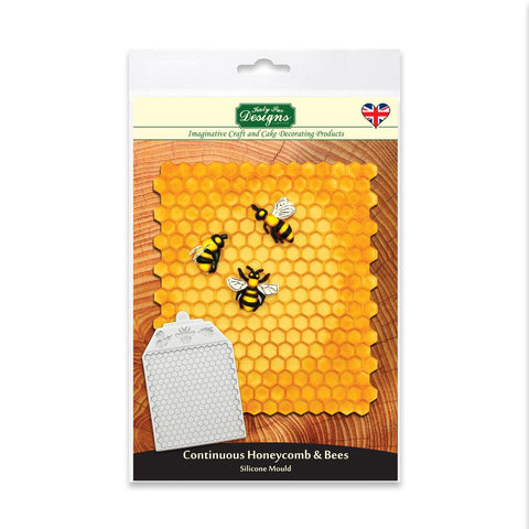 Continuous Honeycomb and Bees Textured Silicone Mould Design Mat