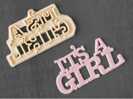 FMM Curved Words - It's A Girl Cutter