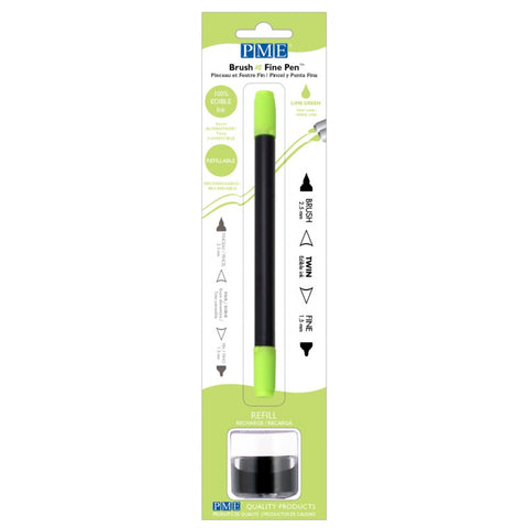 Brush N Fine Refillable Pen - Lime Green