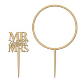 Elegant Mr & Mrs and Large Flower Hoop Wooden Cake Topper Set