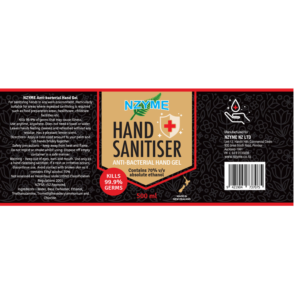 NZYME | Hand Sanitiser 70% Anti Bacterial Hand Gel | 500ml | SALE