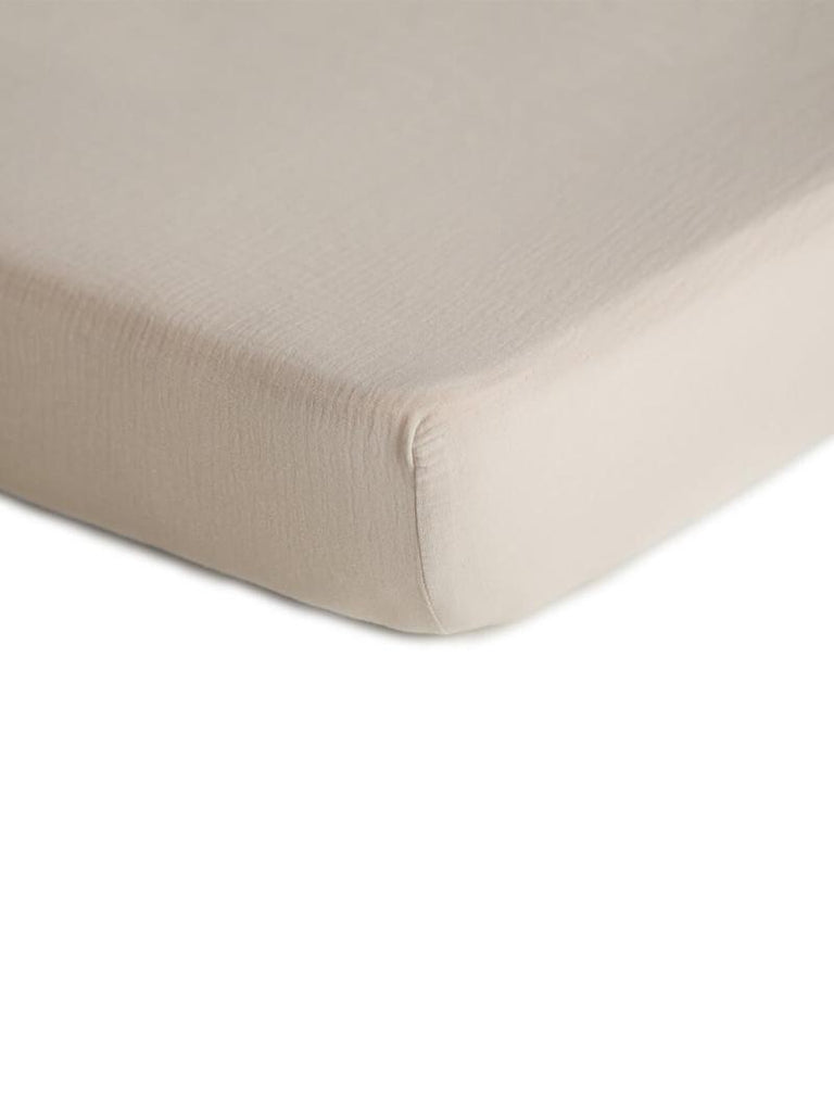 Mushie | Crib Fitted Sheet | Fog