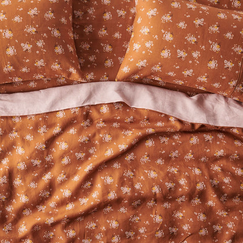 Kip + Co | Fitted Sheet Linen | Vintage Floral Hazelnut| Double/King Single, Queen, King