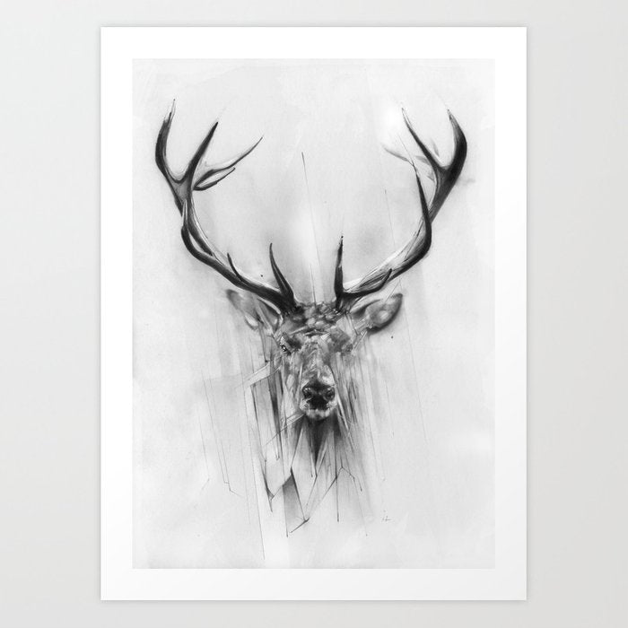 Framed Art | Red Deer Black/White