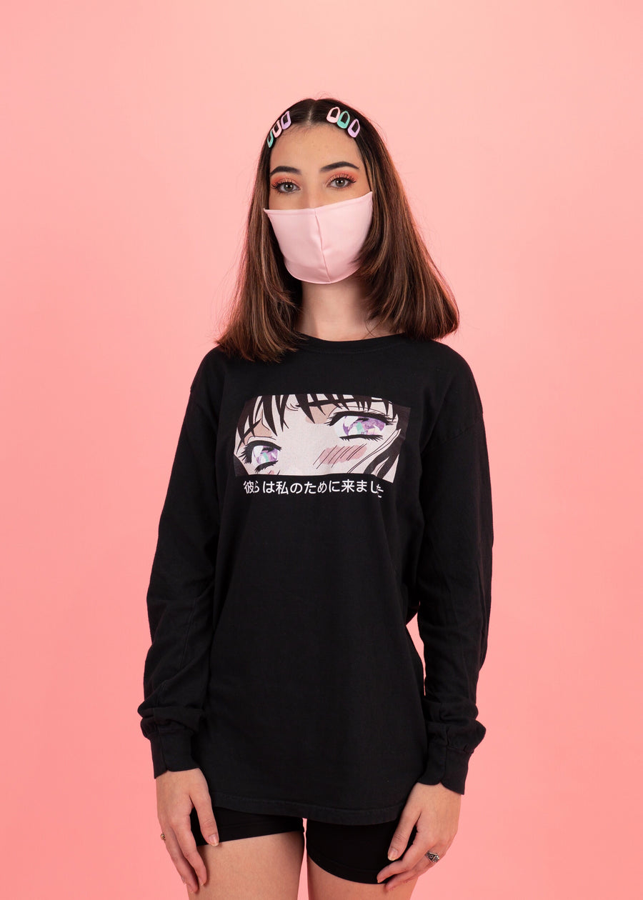 Anime Eyes Graphic T-shirt with Japanese lettering
