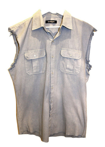 Hooligan Cut Off Shirt Bleach Blue