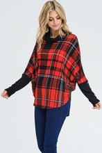 Load image into Gallery viewer, Rockin' Around Plaid Cowl Neck