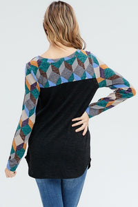 Kaleidoscope of Colors Top (Teal)
