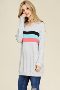 Gotta Be Love Striped Long Sleeve (Grey)