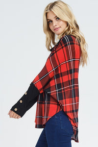 Rockin' Around Plaid Cowl Neck